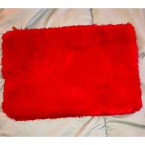 Large Red Fuzzy Clutch